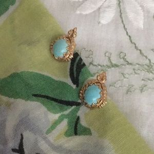 Dainty turquoise and gold earrings, vintage